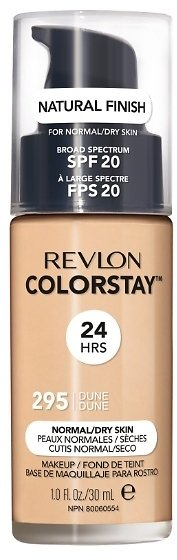 Revlon ColorStay Makeup for Normal/Dry Skin SPF 20, Longwear Liquid Foundation, Natural Finish, Oil Free, 295 Dune, 1.0 Oz