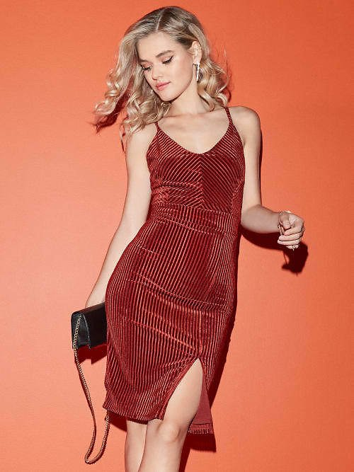 Trisha Ribbed Velvet Dress