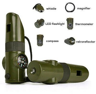 7 in 1 Military Emergency Survival Whistle Kit Compass LED Light Thermomet Tools 800004736116