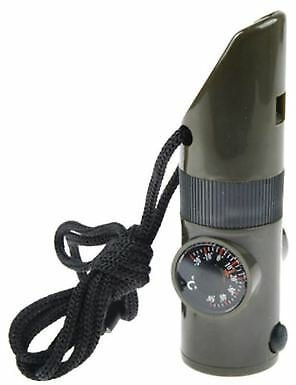 7 in 1 Military Emergency Whistle Kit SOS Survival Compass LED Light Hiking Gear