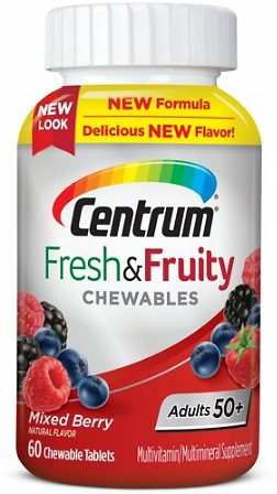 Centrum Adults 50+ Fresh & Fruity Chewables Multivitamin / Multimineral Supplement (60 Ct) Mixed Berry