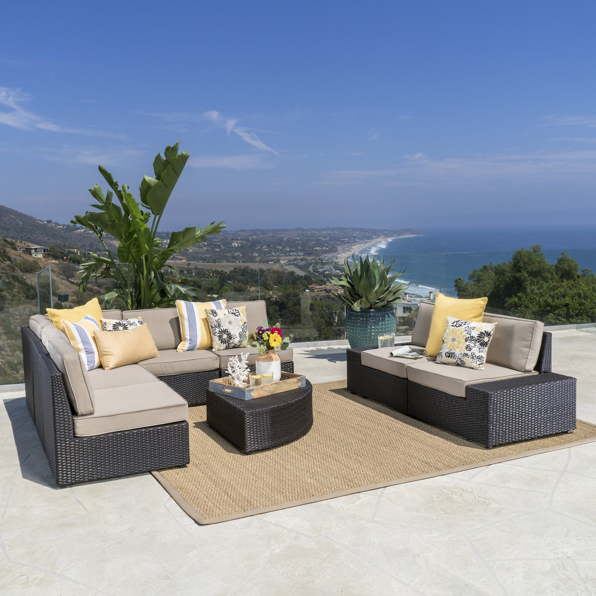 Keyston Outdoor 8 Piece Wicker Sectional with Beige Cushions