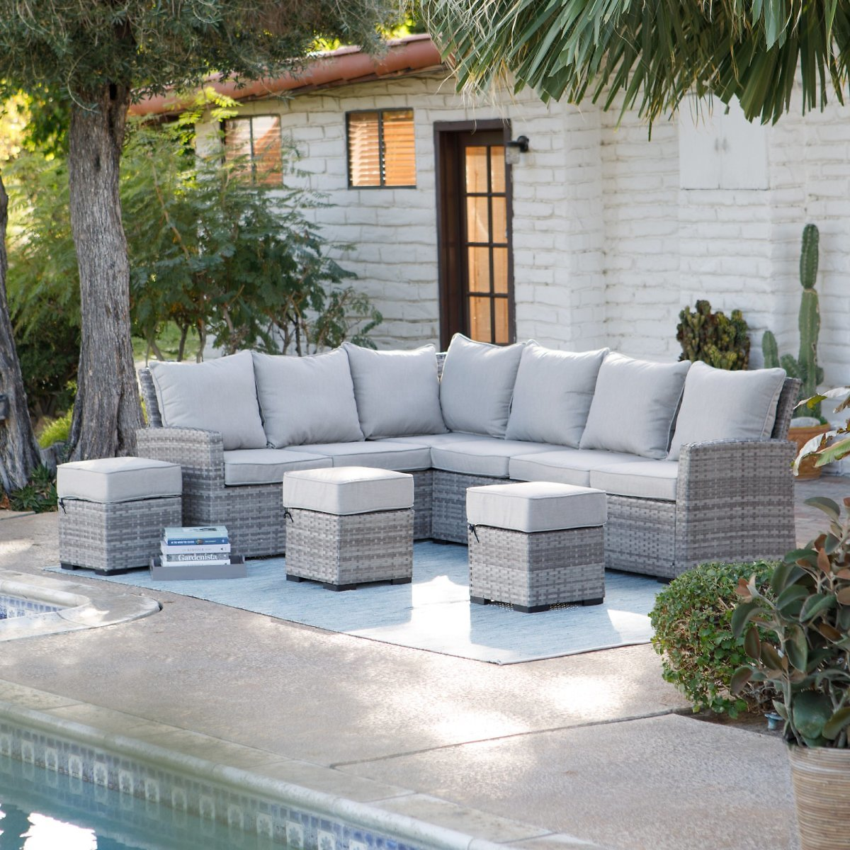 Belham Living Brookville All Weather Outdoor Wicker Sofa Sectional Set
