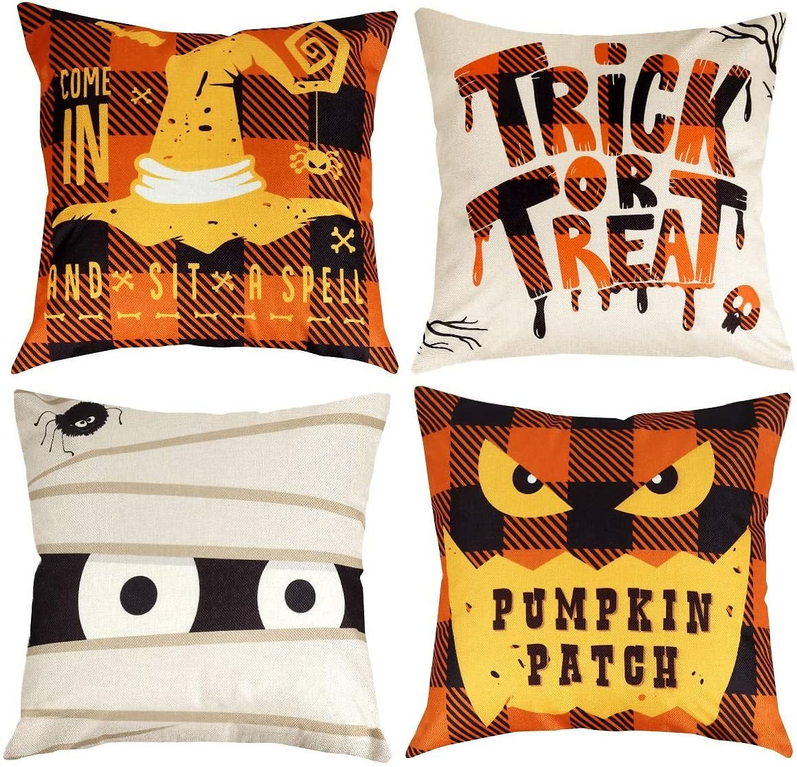 Halloween Decorations Pillow Covers 18x18 Inches Set of 4