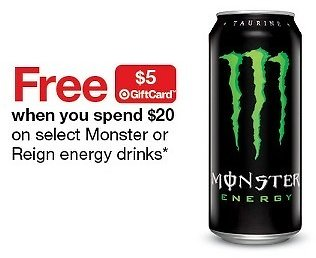 Hurry Up ! Free $5 Gift Card w/ $20 Select Monster or Reign Energy Drinks