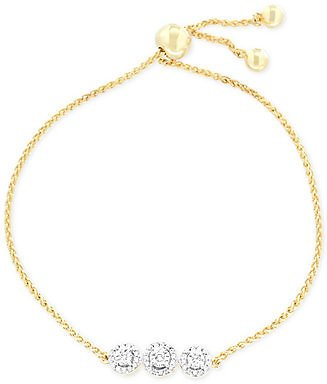Wrapped Diamond Cluster Bolo Bracelet (1/6 Ct. T.w.) in 14k Gold-Plated Sterling Silver, Created for Macy's & Reviews - Bracelets - Jewelry & Watches