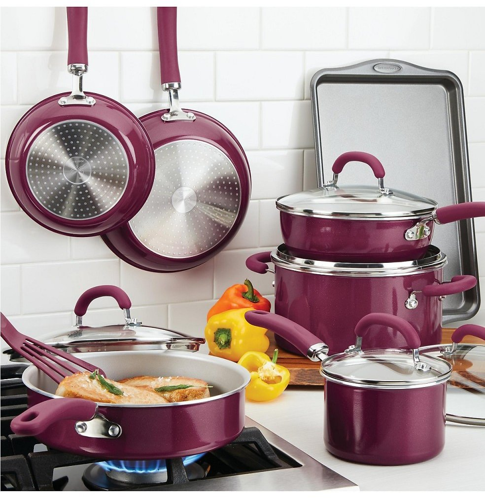 Rachael Ray Create Delicious Aluminum Nonstick 13-Pc. Cookware Set (Multiple Colors)
