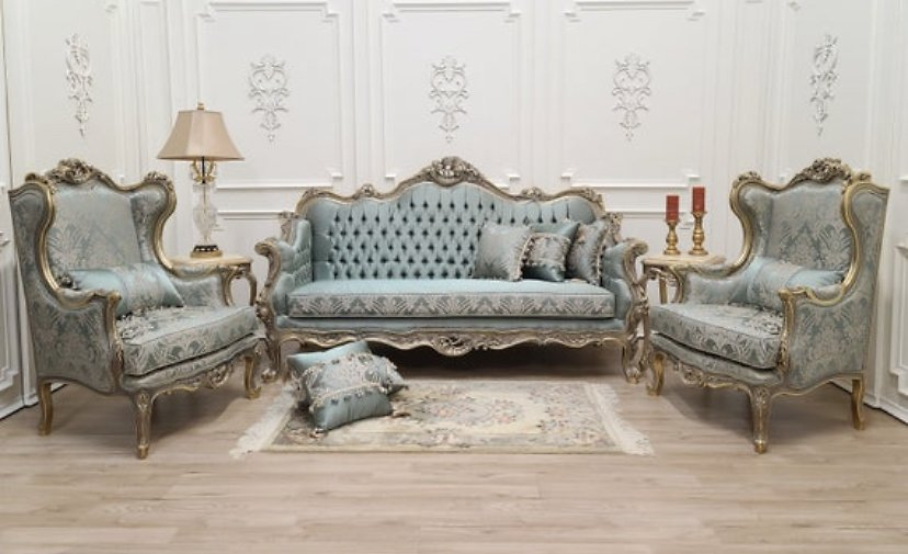 Custom Made : Victorian Style Living Room Set, 24K Gold Leaf Hand Carved Wood Frame/ Tufted Turquoise Silk Damask Fabric