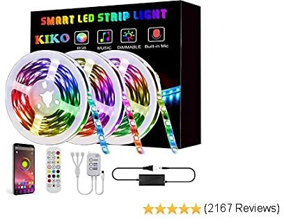 LED Strip Lights, KIKO Smart Color Changing Rope Lights 49.2ft/15M SMD 5050 RGB Light Strips with Bluetooth Controller Sync to Music Apply for TV, Bedroom, Party and Home Decoration (3x16.4ft)