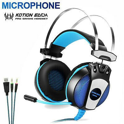 3.5mm Gaming Headset with Mic LED Headphones Surround For PC Laptop PS4 Xbox One 5055374800249