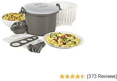 Prep Solutions By Progressive Microwaveable Rice and Pasta Cooker-17 Piece Set Includes Measuring Spoons and Cups, Rice Paddle, Steaming Insert, Pasta Measurer and Locking Lid-12 Cup Capacity BPA FREE
