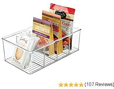 MDesign Plastic Food Storage Organizer Bin Box - 4 Divided Sections - Holder for Seasoning Packets, Pouches, Soups, Spices, Snacks for Kitchen, Pantry, Cabinet, Refrigerator - Clear