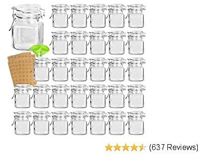 Spice Jars, KAMOTA 30 PACK 3.5 Oz Small Glass Jars with Leak Proof Rubber Gasket and Airtight Hinged Lid, 280 Spice Labels & 2 Silicone Funnels,for Spice Herb Seasoning Art Craft Storage Empty