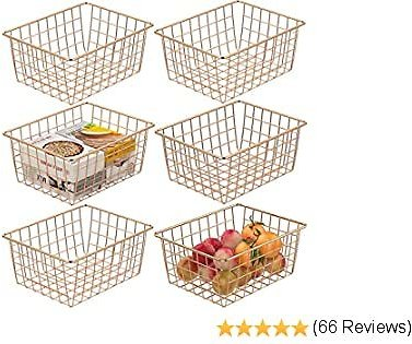 Wire Baskets, Cambond 6 Pack Wire Basket for Storage Durable Metal Basket Pantry Organizer Storage Bin Baskets for Kitchen Cabinets, Pantry, Bathroom, Countertop, Closets (Rose Gold, Small)