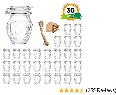 Spice Jars, Flrolove 30 Pack 3.5oz Grape Shaped Glass Jars with Leak Proof Rubber Gasket & Hinged Lid,Small Glass Containers with Airtight Lids for Home, Party Favors