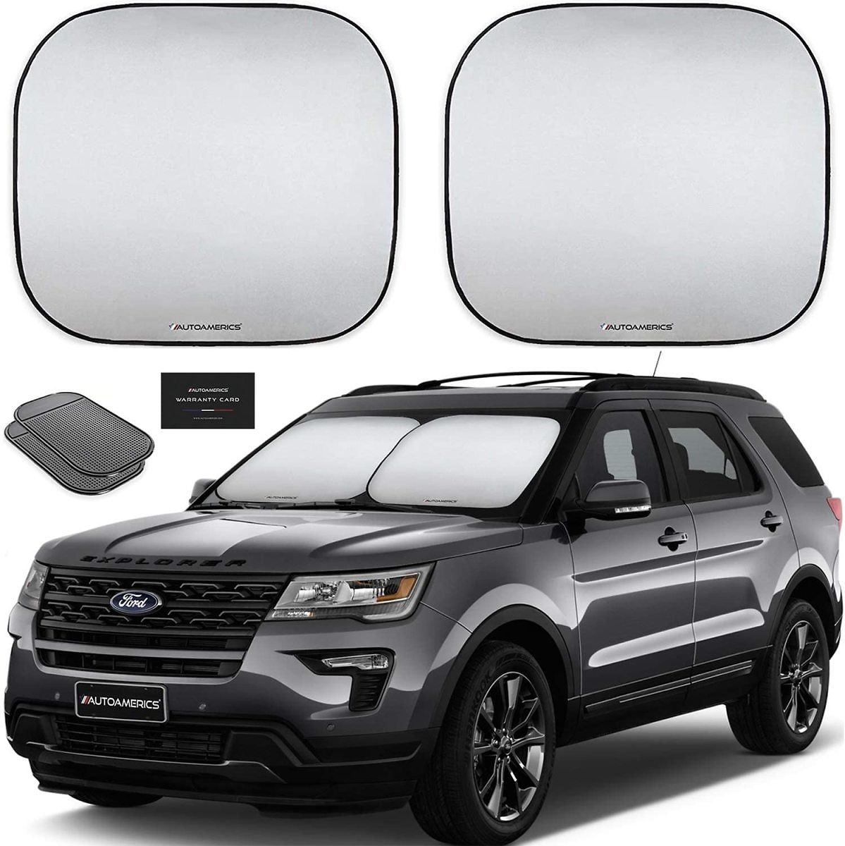 Autoamerics Windshield Sun Shade 2-Piece Foldable Car Front Window Sunshade for Most Sedans SUV Truck