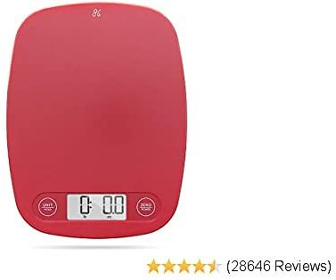 GreaterGoods Brand Digital Food Kitchen Scale (Cherry Red), Portion Helps Support The Charity