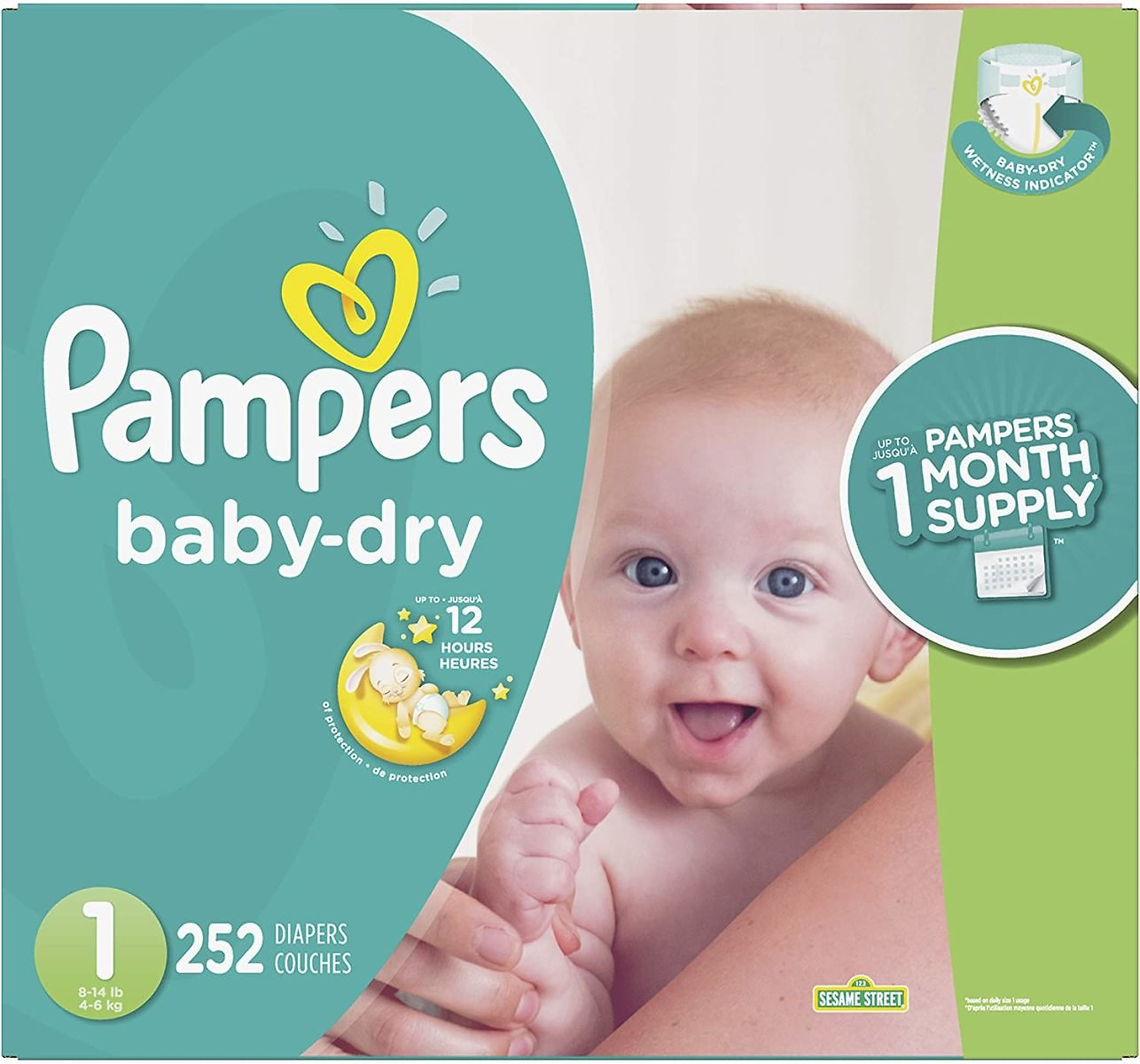 14% Discount - Diapers Newborn/Size 1 (8-14 Lb), 252 Count - Pampers Baby Dry Disposable Baby Diapers, ONE MONTH SUPPLY
