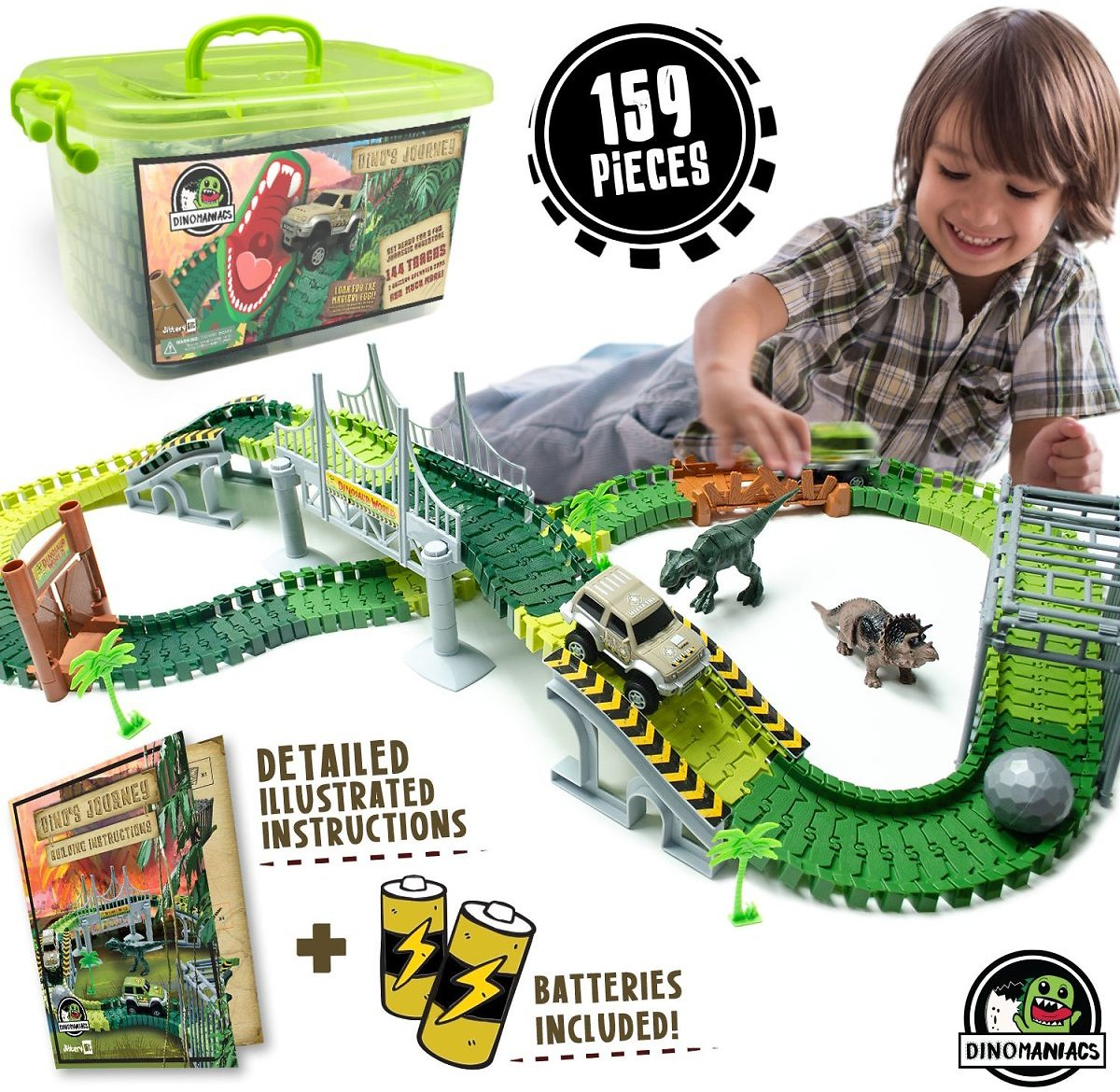 JITTERYGIT Dinosaur Train Track Toy | Jurassic Escape World | Build An Adventure Park | Fun Race Car Set | Awesome Gift for Kids