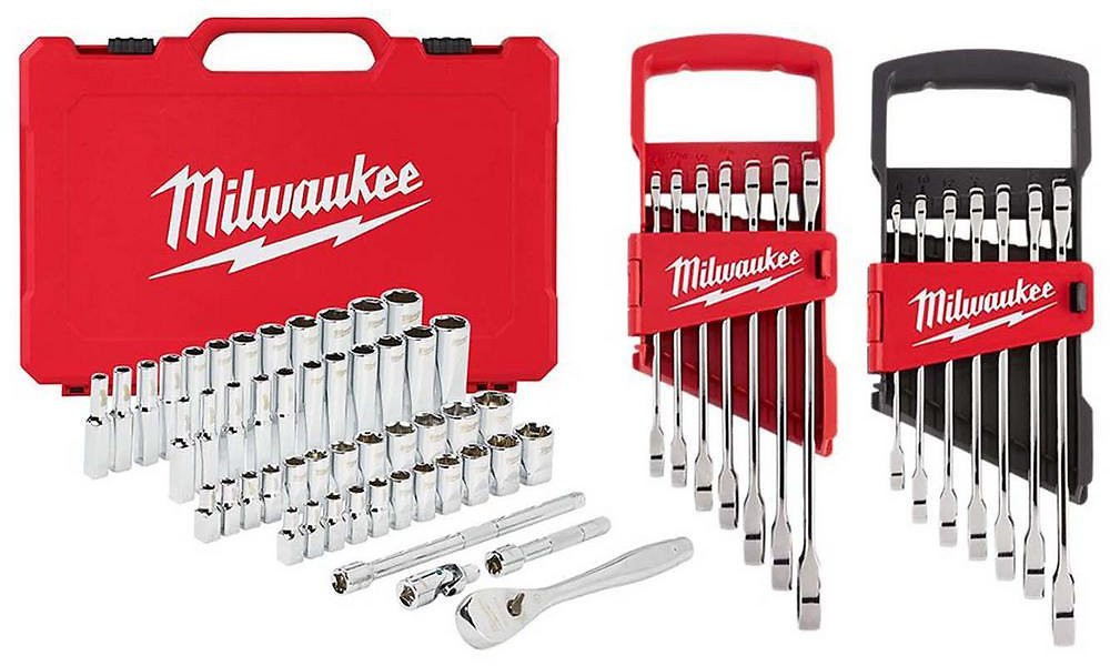 Milwaukee 1/4 In. Drive SAE/Metric Ratchet/Socket/ Combination Ratcheting Wrench Mechanics Tool Set (64-Piece)-48-22-9004-48-22-9406-48-22-9506