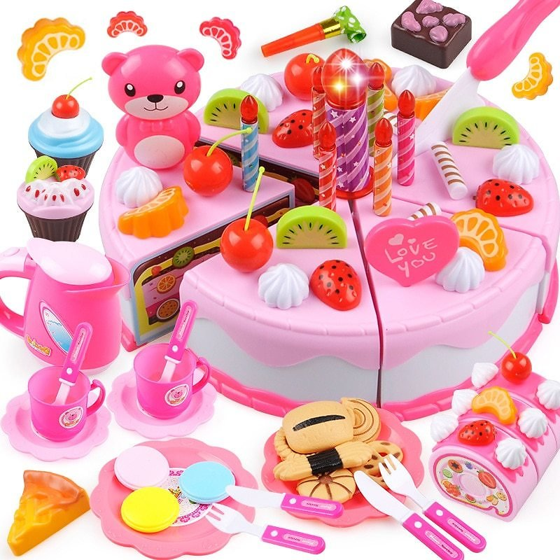 US $5.1 35% OFF|37 80PCS DIY Cake Toy Kitchen Food Pretend Play Cutting Fruit Birthday Toys Cocina De Juguete Pink Blue For Kid Educational Gift|Kitchen Toys| - AliExpress