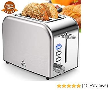Toasters 2 Slice Best Rated Prime 1.5in Wide Slot with Bagel/Reheat/Cancel Function Stainless Steel Cool Touch 2 Slice Silver Toaster for Bread with Removable Crumb Tray