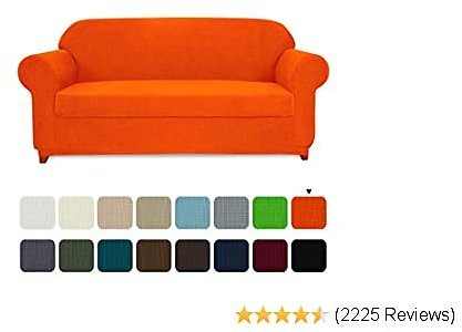 Subrtex Sofa Cover 2 Piece Stretch Couch Slipcovers Furniture Protector for Armchair Loveseat Washable Soft Jacquard Fabric Anti Slip, Medium, Orange