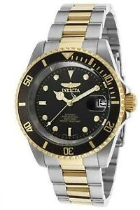 Invicta 8927OB Mens Pro Diver Automatic 3 Hand Black Dial Watch - Gold & Stee...