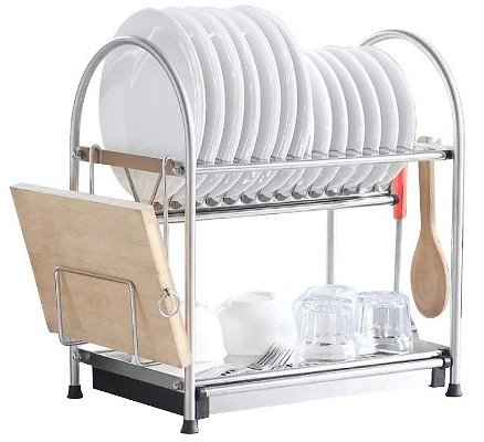 2-Tier Dish Rack With Draining Pan, Cutting Board Holder