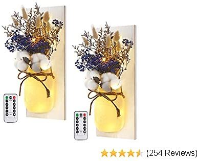 Mason Jar Sconces Wall Decor - Rustic Wall Sconces - Decorative Jars with Cotton Stems & Baby Breath Flower with Remote Timer LED Fairy Lights for Kitchen Home Décor Living Room Wall Lights Set of 2