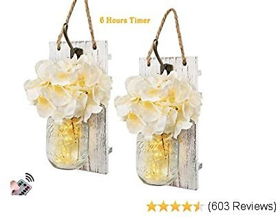 Mason Jar Sconces Wall Decor with Remote Control LED Fairy Lights, Farmhouse Rustic Wall Decor with Bronze Retro Hooks, Silk Hydrangea Design for Home Decorations Set of Two