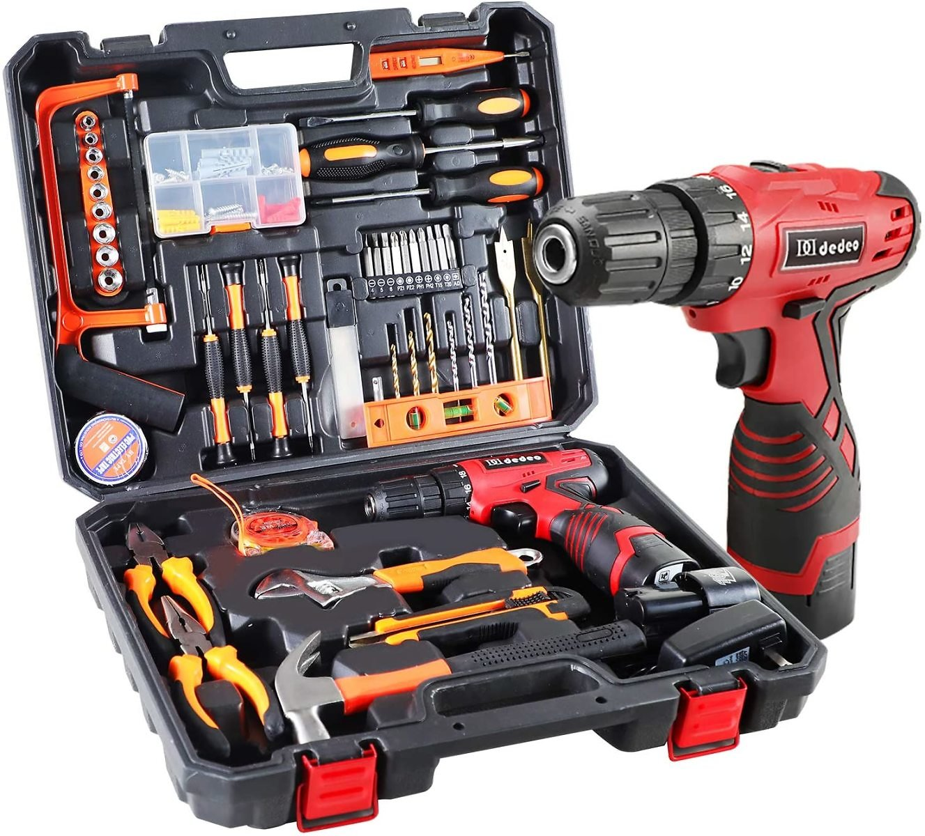 Dedeo Cordless Hammer Drill Tool Kit, 60Pcs Household Power Tools Drill Set with 16.8V Lithium Driver Claw Hammer Wrenches Plier