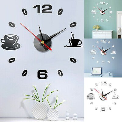 Modern Large Wall Clock 3D Mirror Surface Sticker Big Number Watch DIY Decor