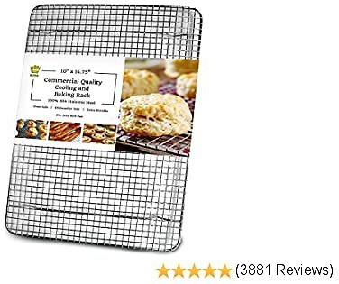 Ultra Cuisine 100% Stainless Steel Cooling and Baking Rack Fits Jelly Roll Sheet Pan - Cool Cookies, Cake, Bread, Pie - Oven Safe Wire Grid for Roasting, Cooking, Grilling, BBQ, Smoking (10