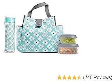 Fit & Fresh Insulated Lunch Bag Kit, Includes Matching Bottle and Containers, Westport Aqua Dogwood