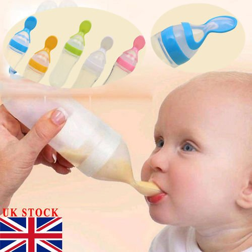 US $0.84 40% OFF|90ML Lovely Safety Infant Baby Silicone Feeding With Spoon Feeder Food Rice Cereal Bottle For Best Gift|Bottles| - AliExpress