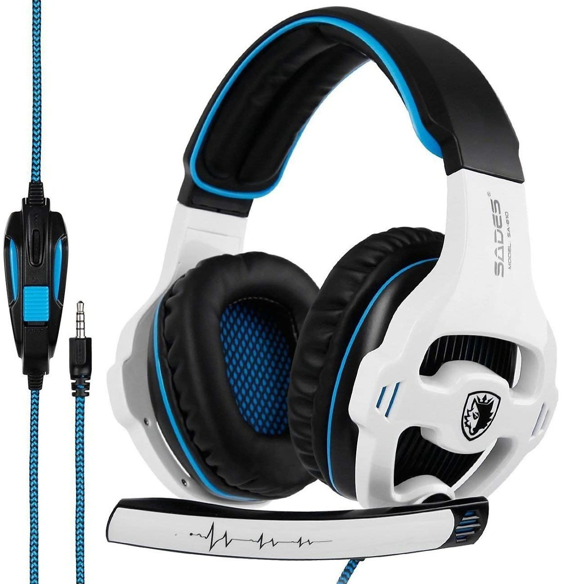 SADES SA810GT Stereo Gaming Headset for Xbox One/PS4/PC Noise Cancelling Over Ear Headphones with Mic, LED Light & 3.5mm Jack &