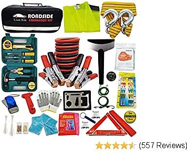 Roadside Assistance Emergency Kit - Multipurpose Emergency Pack Car Premium Road Kit Essentials Jumper Cables Set (8 Foot) Automotive Roadside Assistance 142 Pieces Winter Car Kit