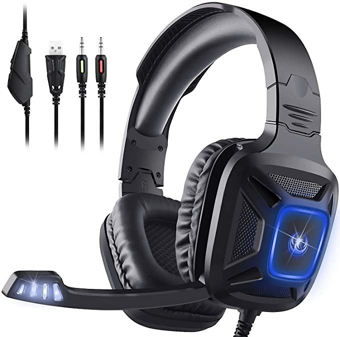 Gaming Headset for Xbox One & PS4, AIMASON Noise Cancelling Over Ear Headphone W/Crystal Stereo Bass Surround Sound & Soft Memor