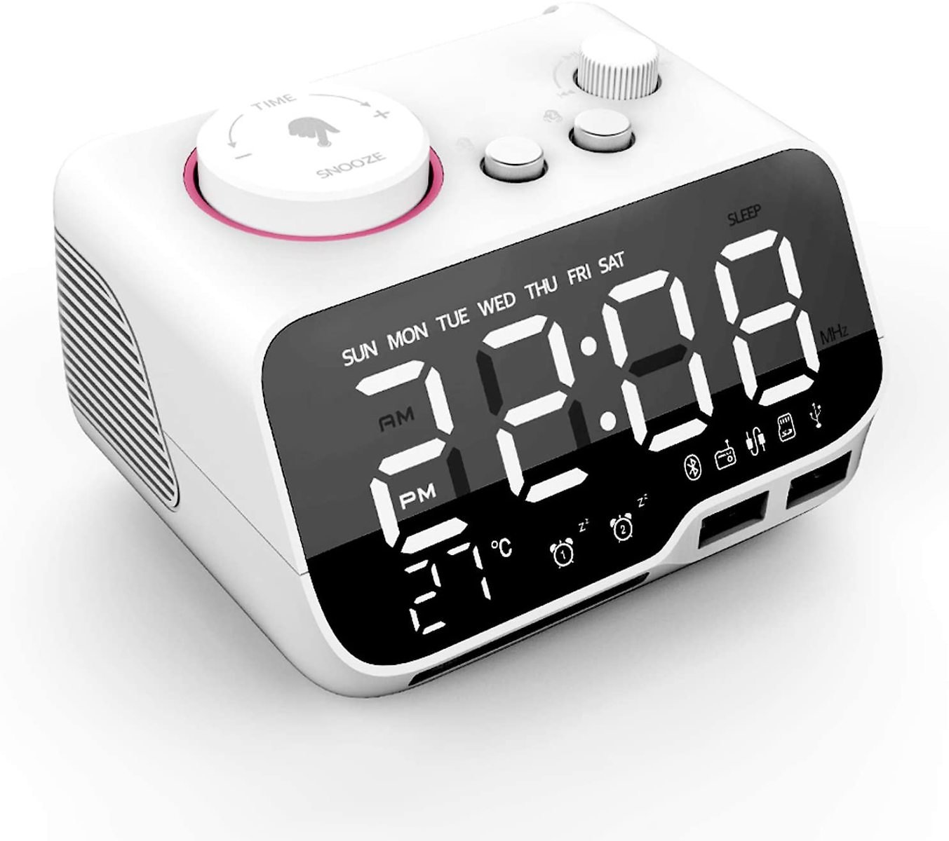 Alarm Clock Radio, Compact Radios, Alarm Clock with Bluetooth, Speaker, Thermometer, FM Radio, 2 USB Charging Ports, Snooze, Adj