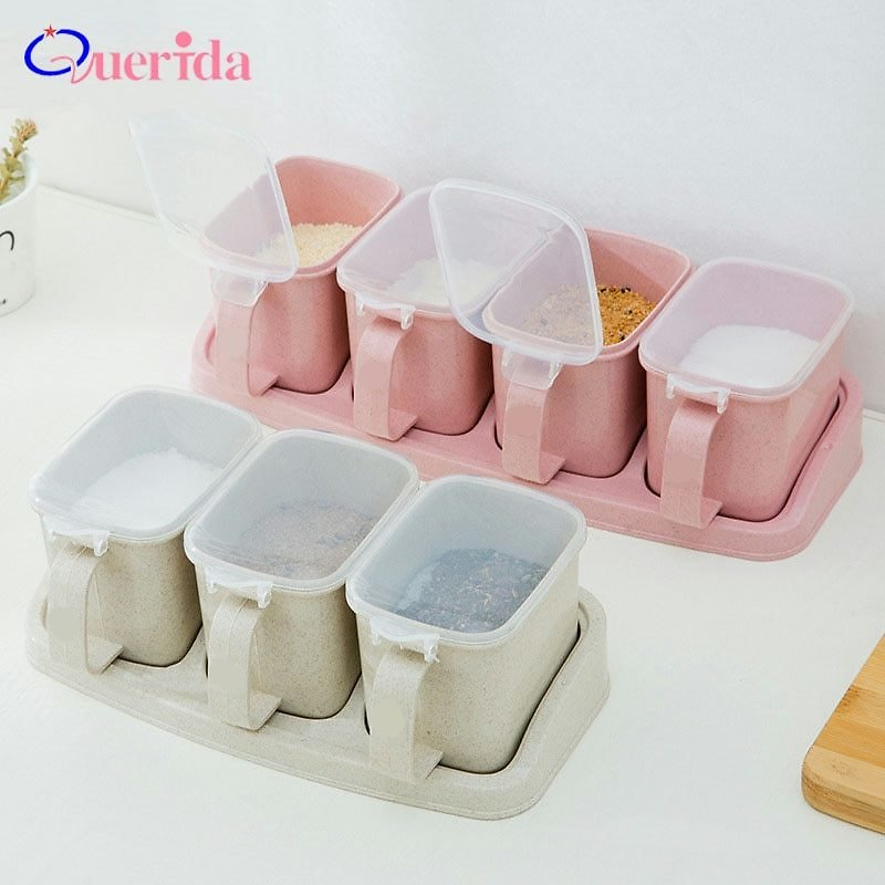 US $6.89 50% OFF|Wheat Straw Seasoning Box Pepper Spice Shaker Salt Seasoning Transparent PP Kitchen Cruet Condiment Bottle Jars Storage Box|Salt Pigs, Cellars & Servers| - AliExpress