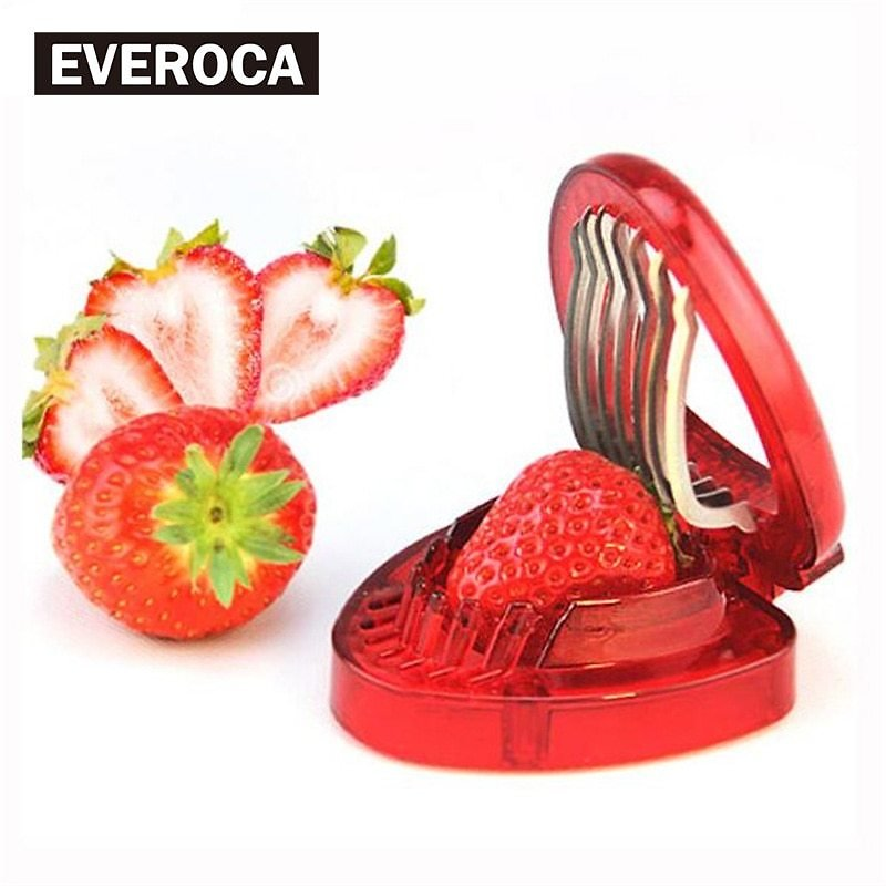 Red Strawberry Slicer 1 Pc Plastic Fruit Carving Tools Salad Cutter Berry Strawberry Cake Decoration Cutter