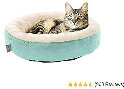Love's  Round Donut Cat and Dog Cushion Bed, 20in Pet Bed For Cats or Small Dogs, Anti-Slip & Water-Resistant Bottom, Super Soft Durable Fabric Pet Supplies, Machine Washable Luxury Cat & Dog Bed