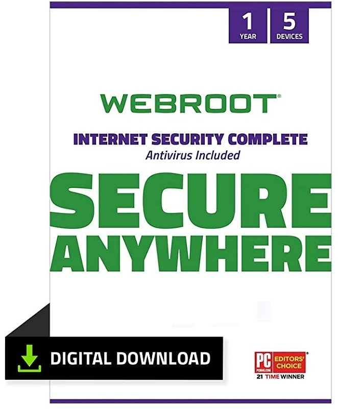 Webroot Internet Security Complete with Antivirus Protection Software 5 Device 1 Year Subscription PC Download: Software