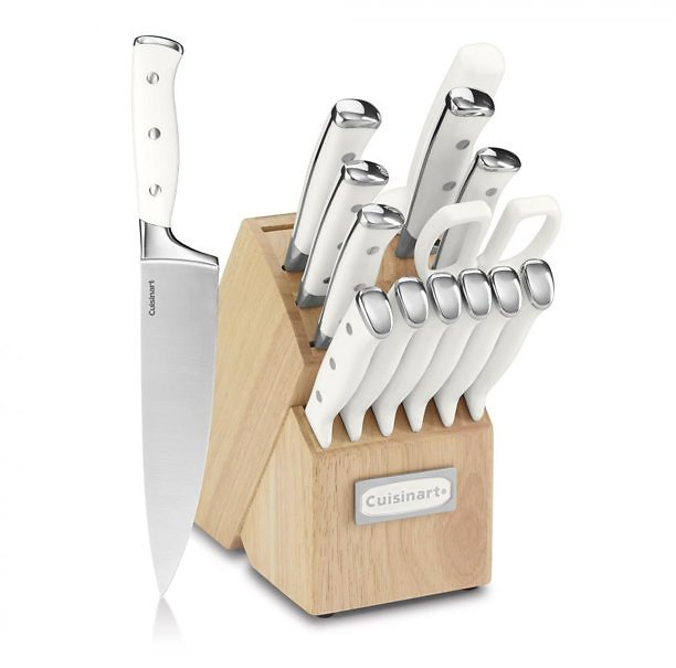 Cuisinart Classic Forged Triple Rivet 15-Piece Cutlery Set with Block, White and Stainless