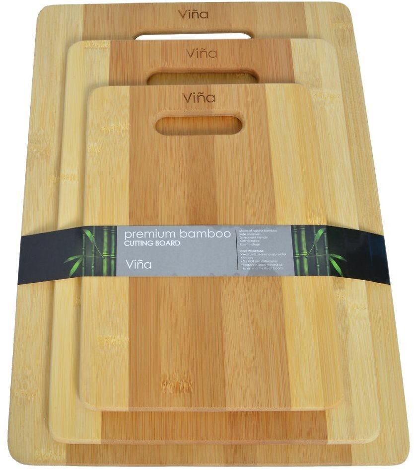 Vina 3 Piece Premium Bamboo Cutting Boards Set Kitchen Chopping Board in Small, Medium & Large, Eco-friendly, Antimicrobial