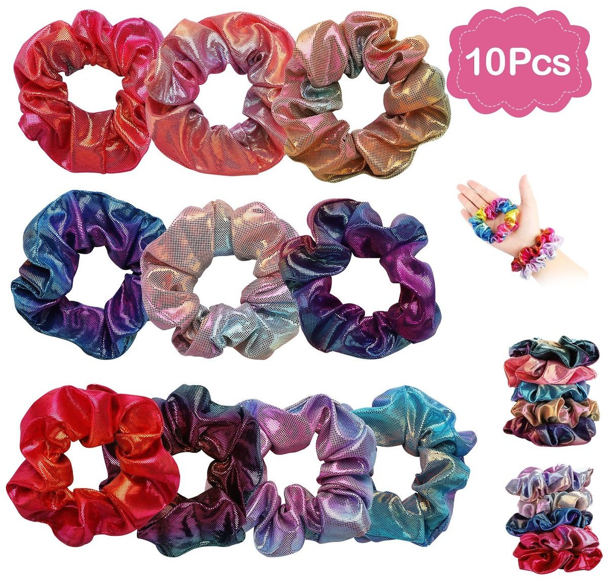 10Pcs Hair Scrunchies Velvet,Chiffon,Satin Elastic Hair Bands Scrunchie Bobbles Soft Hair Ties Ropes Ponytail Holder No Hurt, So