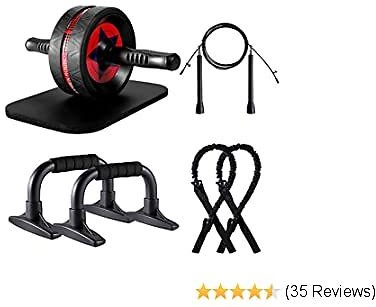 Ab Roller Wheel for Abs Workout, Upgraded 7-in-1 AB Wheel Roller Set with Knee Pad Resistance Bands Push Up Bars Handles Grips Adjustable Skipping Jump Rope for Home Gym Workout Exercise Fitness