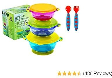 PandaEar Stay Put Spill Proof Stackable Baby Suction Bowls 3 Sizes for Toddlers with Silicone Feeding Utensils and Secure Lids BPA Free