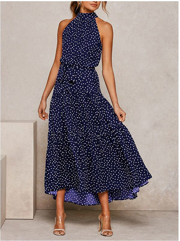 Women Elegant Maxi Dress Sexy Sleeveless O Neck Dress Casual Floral Ruffle Thin Beach Dress Lady Spring Summer Party Dresses